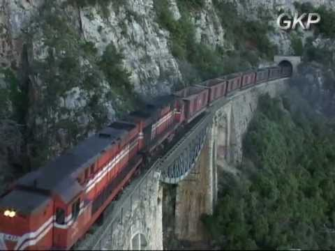 """FREIGHT TRAINS AT TRACHINA RAIL PASS """"The full movie"""""""