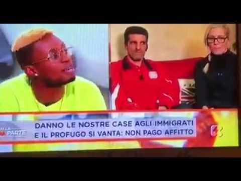 Bello Figo Gu diffama la Mussolini in diretta TV ( Rete 4 ) !!SCANDALO TELEVISIVO!!