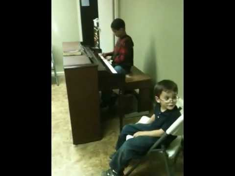 Autistic savant twins play piano for the first time! Oxnard, Ca.