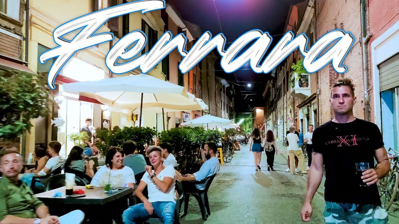 NIGHT IN FERRARA. Italy - 4k Walking Tour around the City - Travel Guide. trends, moda #Italy