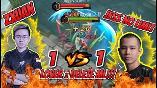 Zxuan 1 VS 1 JessNoLimit FANNY, LOSE = DELETE Mobile Legends !! | Official ZX