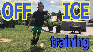 Kids HocKey off Ice training putting Cbanks and Max through a little workout