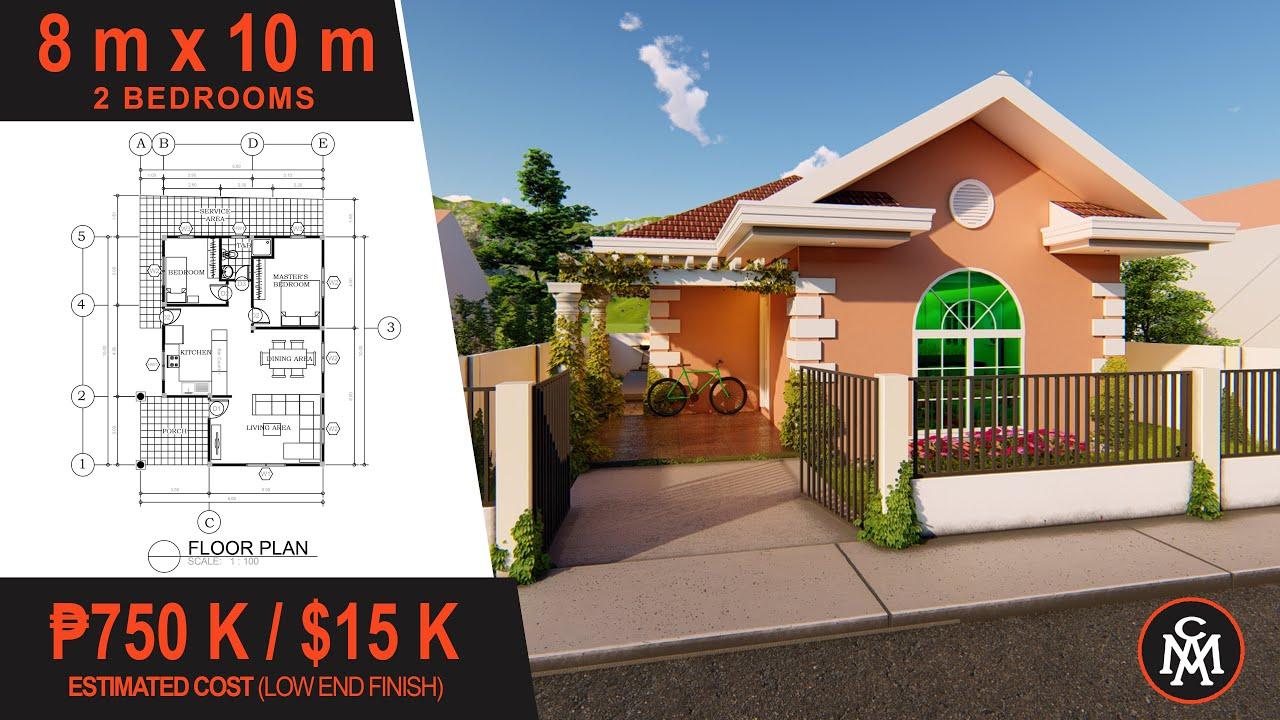 Small House Plan 8 X 10 M 80 Sq M House Design 4 Youtube