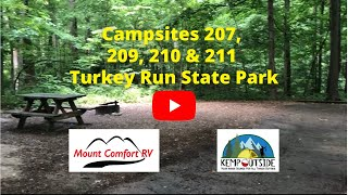 Turkey Run State Pąrk Campsites 207, 209, 210 & 211| Camping in Indiana | Campsite Reviews