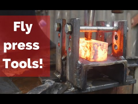 Punching Hammer Eyes with a Flypress! Forging Swedish hammers! TEST RUN