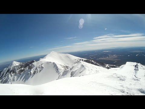 Humphrey's Peak Summit in the snow + 50mph winds! Highest point in AZ