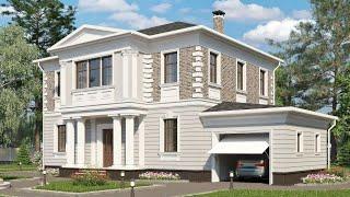 Проект дома в классическом стиле из кирпича. Дом с гаражом, эркером и террасой Ремстройсервис KR-219