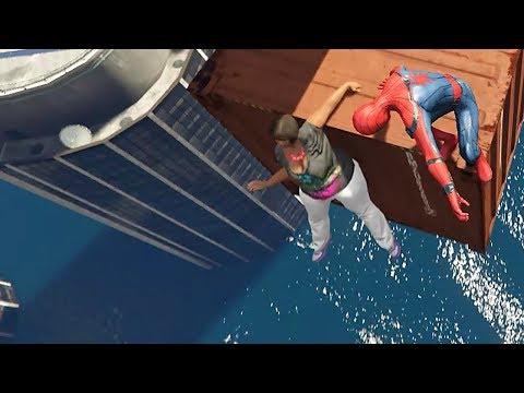 download GTA 5 Water Ragdolls | SPIDERMAN Jumps/Fails #13 (Euphoria physics | Funny Moments)