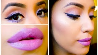 Spring/Summer Makeup 2014: Purple/Lavender lips ft. Limecrime (Chinchilla) + pop of color