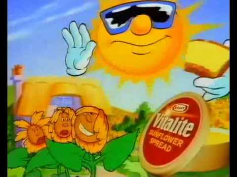 Vitalite advert 1994 - singing sunflowers and sun