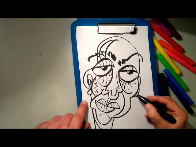 The ASMR Artist draws a freestyle caricature style portrait in a loose, colourful style.