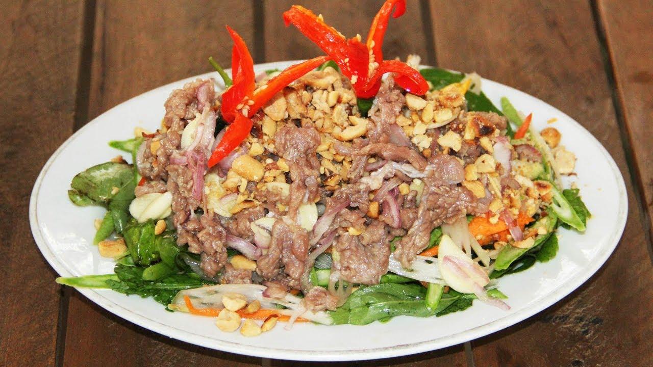 របៀបធ្វើ ភ្លាសាច់គោឆៅ | Beef Salad | Plea Sach ...