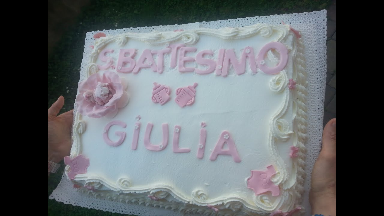 Très Come decorare una torta alla panna per un battesimo - YouTube BX69