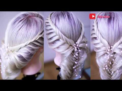 Новогодняя причёска из косы БЫСТРЫЙ СПОСОБ Fishtail Braid