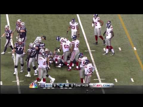 Super Bowl XLVI 2012 THE GIANTS DEFENSE HOLDS TOM BRADY IN THE REDZONE