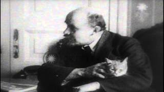 Bolshevik leader Vladimir Lenin sitting at his desk with his cat in his lap, afte...HD Stock Footage