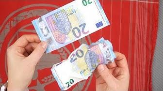 Geld bügeln: Geldgeschenke auspacken und Geldscheine glätten