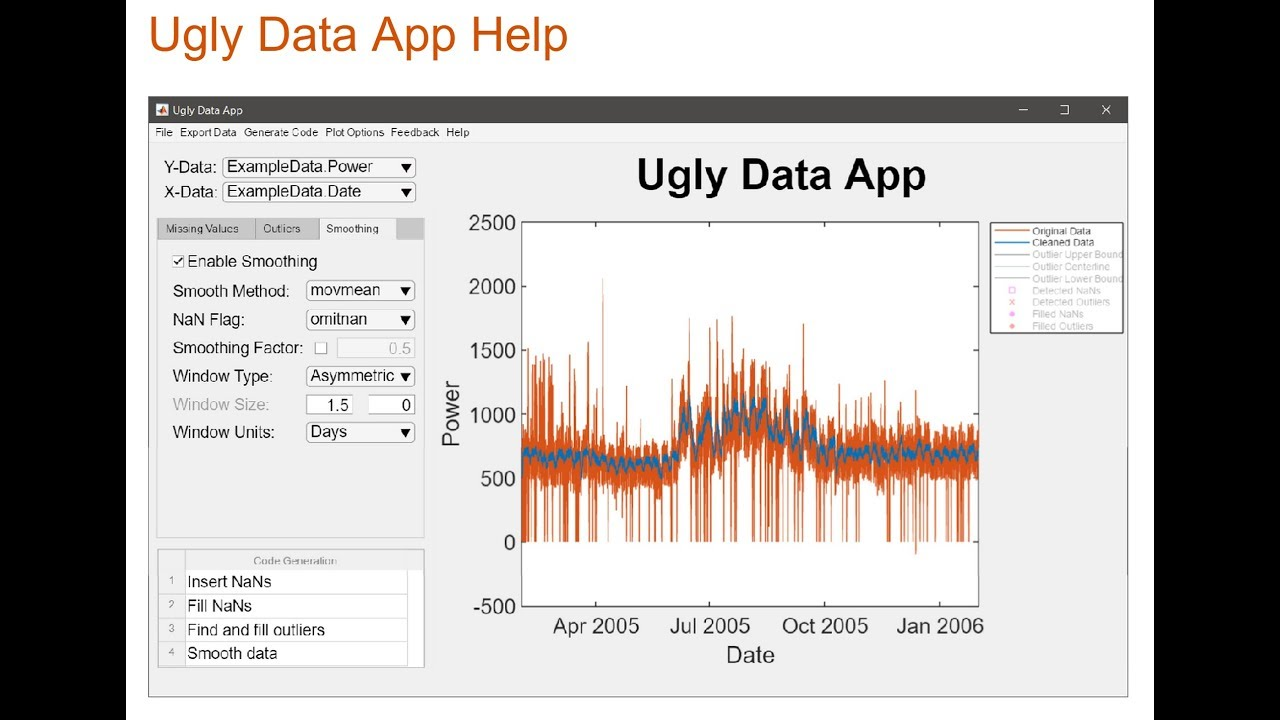 Data Cleaning in Matlab (Ugly Data App)