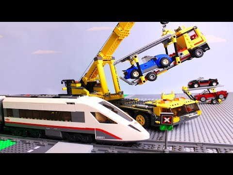 LEGO Train And Auto Transporter Truck Of Cars Fail Video For Kids