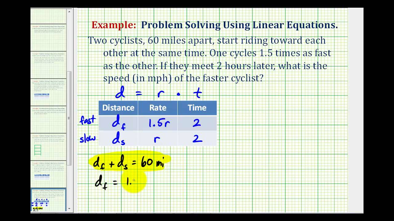 Ex:  Find the Rate of Two Cyclist Traveling Toward Each Other