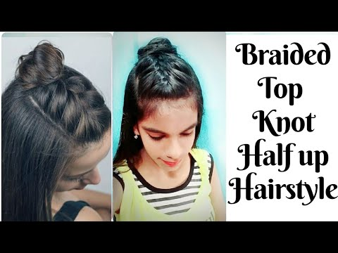 How to make braided top knot hairstyle at home for girls   Simple & Easy hairstyles for girls