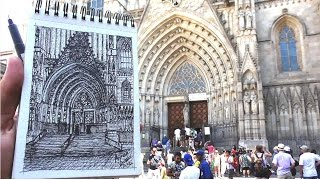 Drawing Barcelona Cathedral