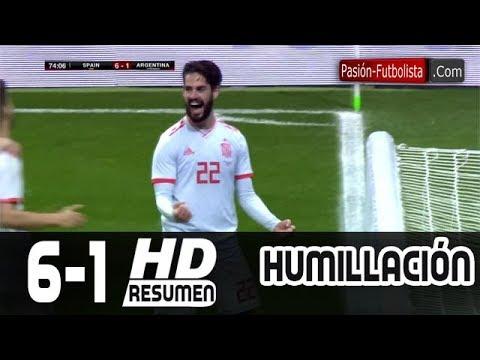 España vs Argentina 6-1 RESUMEN GOLEADA Amistoso Internacional [Friendly-Match] 2018