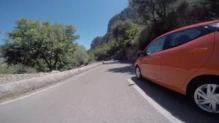 Cycling fast downhill from Coll de Soller to Soller, Mallorca, Spain.