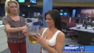 Hooters Girl Barstool Beer Trick