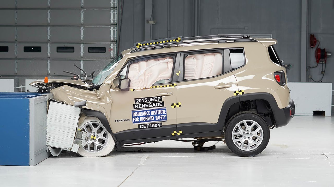 2015 jeep renegade moderate overlap iihs crash test youtube. Black Bedroom Furniture Sets. Home Design Ideas