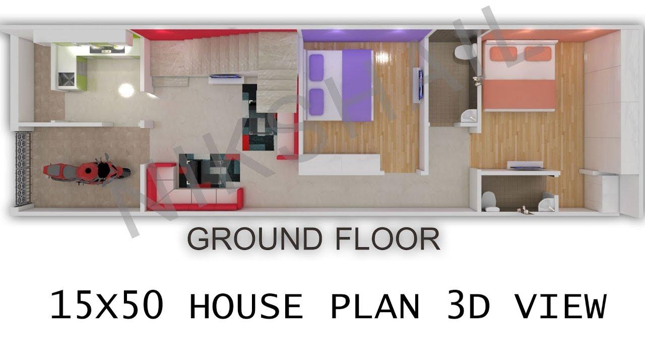 15X50 House plan 3d view by nikshail