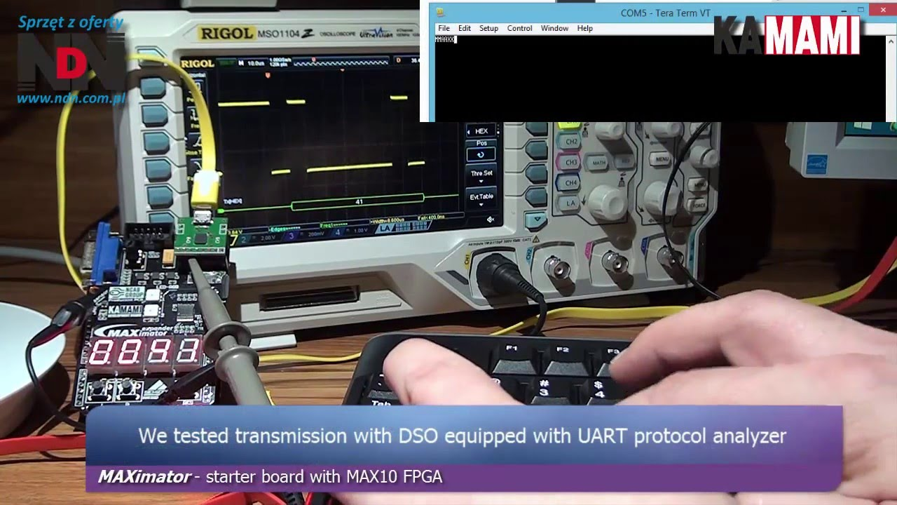 MAXimator (Altera MAX10 FPGA) example project: UART core + bidirectional  data transmission PC-FPGA