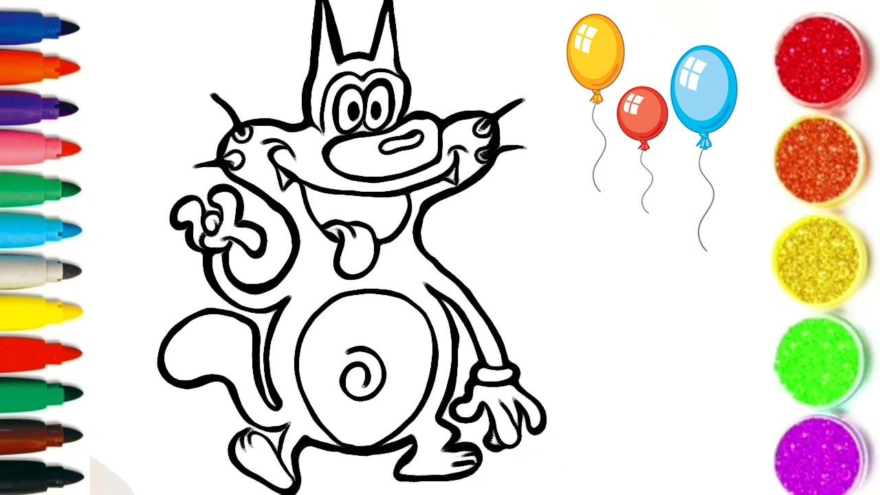 Comment Dessiner et colorier Oggy/ dessin facile pour les enfants #TT33 - YouTube