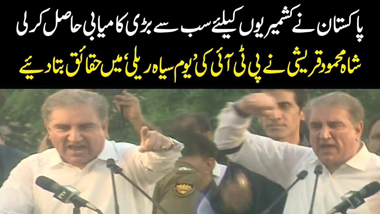 Shah Mehmood Qureshi aggressive speech in Black Day rally by PTI | 15 August 2019