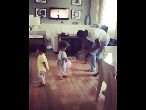 Mikel Obi And His Twin Daughters Dancing Together