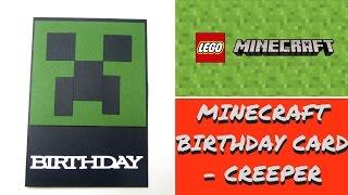 Handmade Minecraft Pig inspired Birthday Card