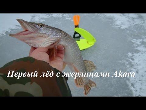 Первый лёд с жерлицами Акара