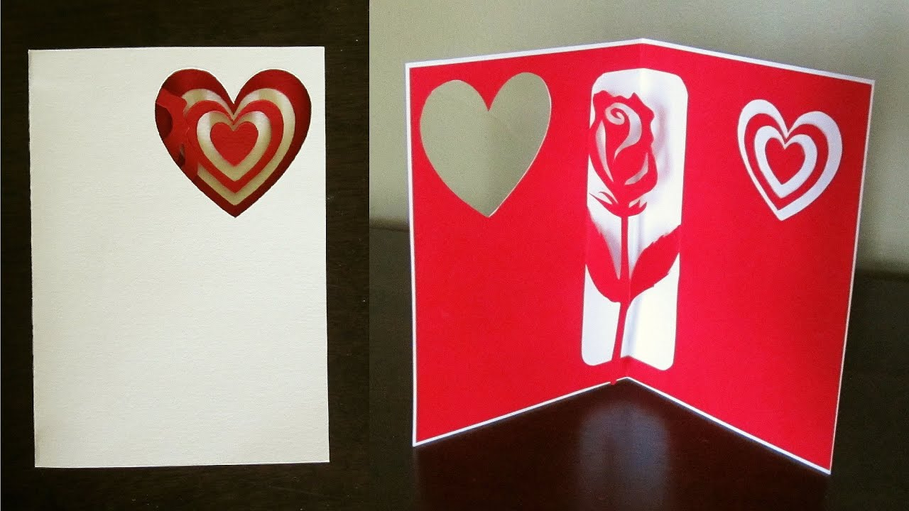 Rose pop up card valentines day birthday or greeting – Card for Valentine Day