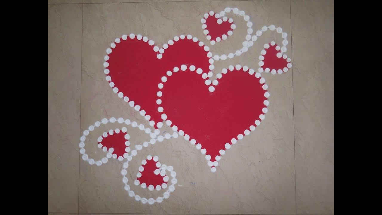 Valentine S Day Rangoli Design New Youtube