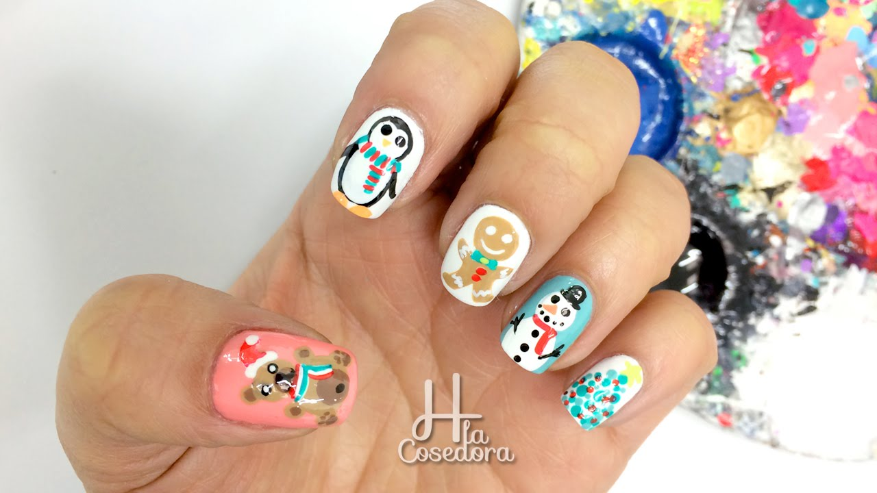 Decoracion de u as navidad christmas nail art youtube for Decoracion de unas de navidad