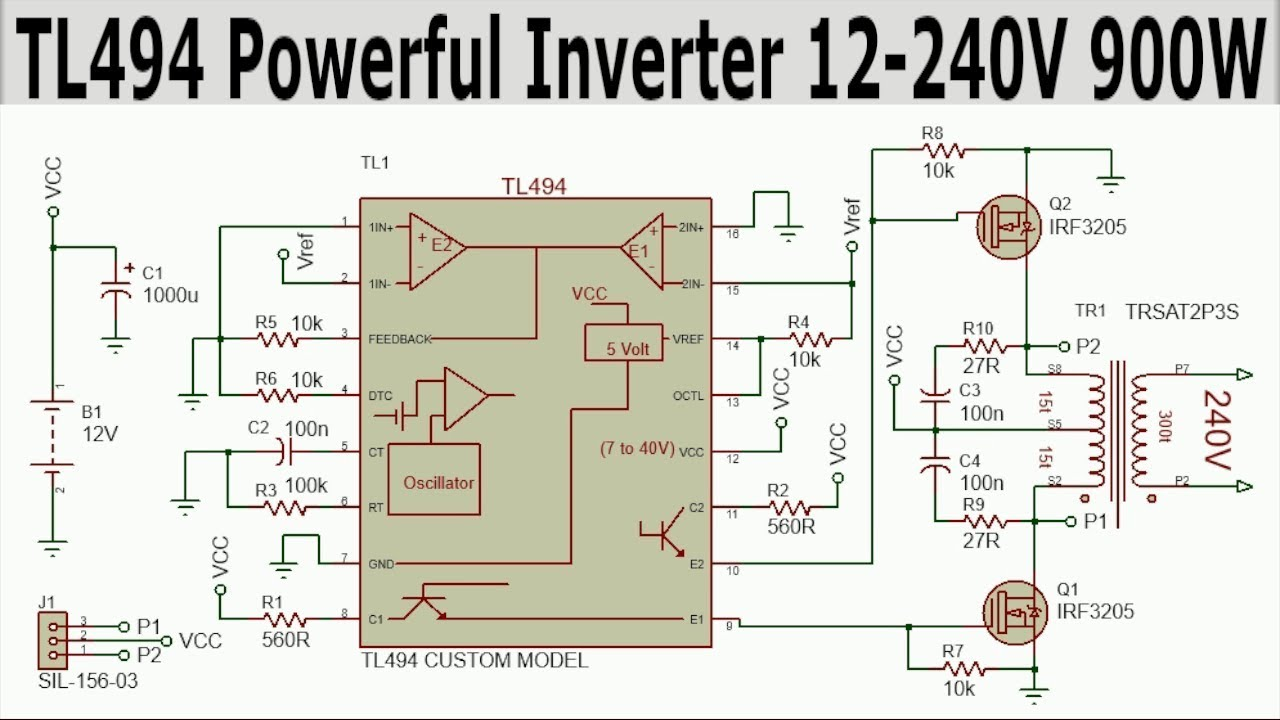 TL494 INVERTER CIRCUIT COMPLETE TUTORIAL 12-240V 900W