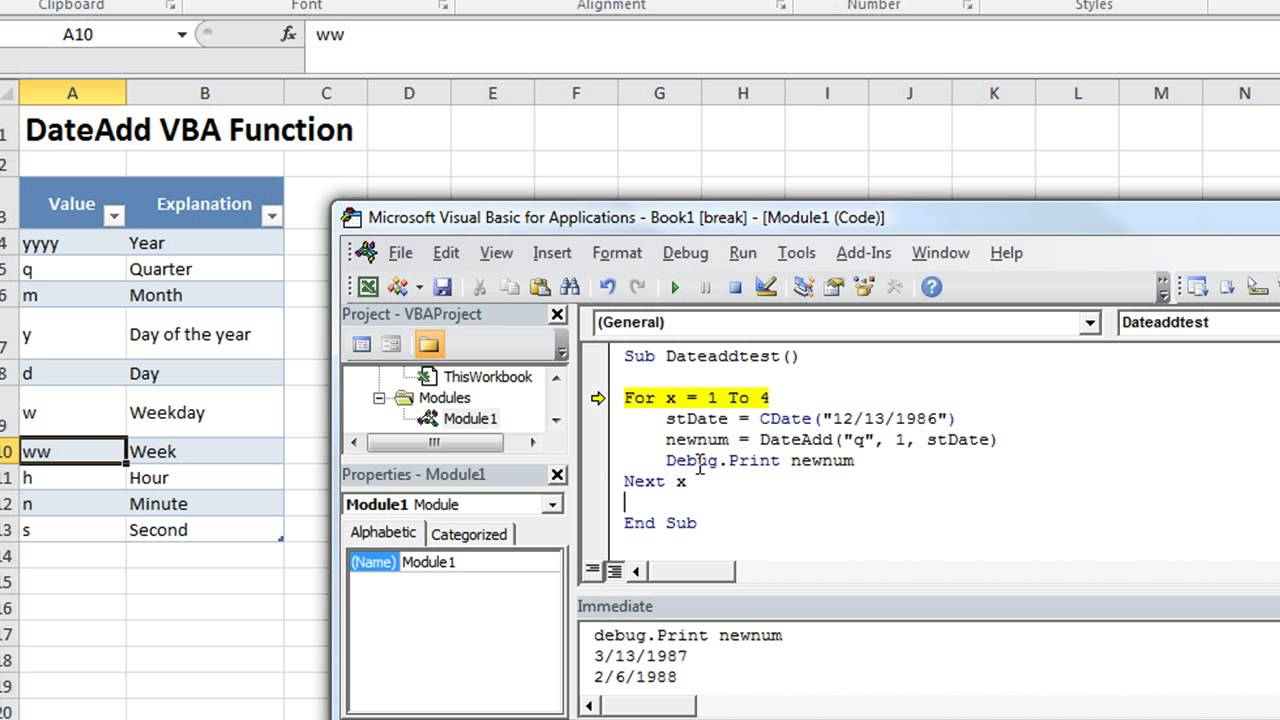Excel VBA Basics #23 DATEADD - Add or Subtract Minutes. Months. Weekdays. Seconds whatever!! - YouTube