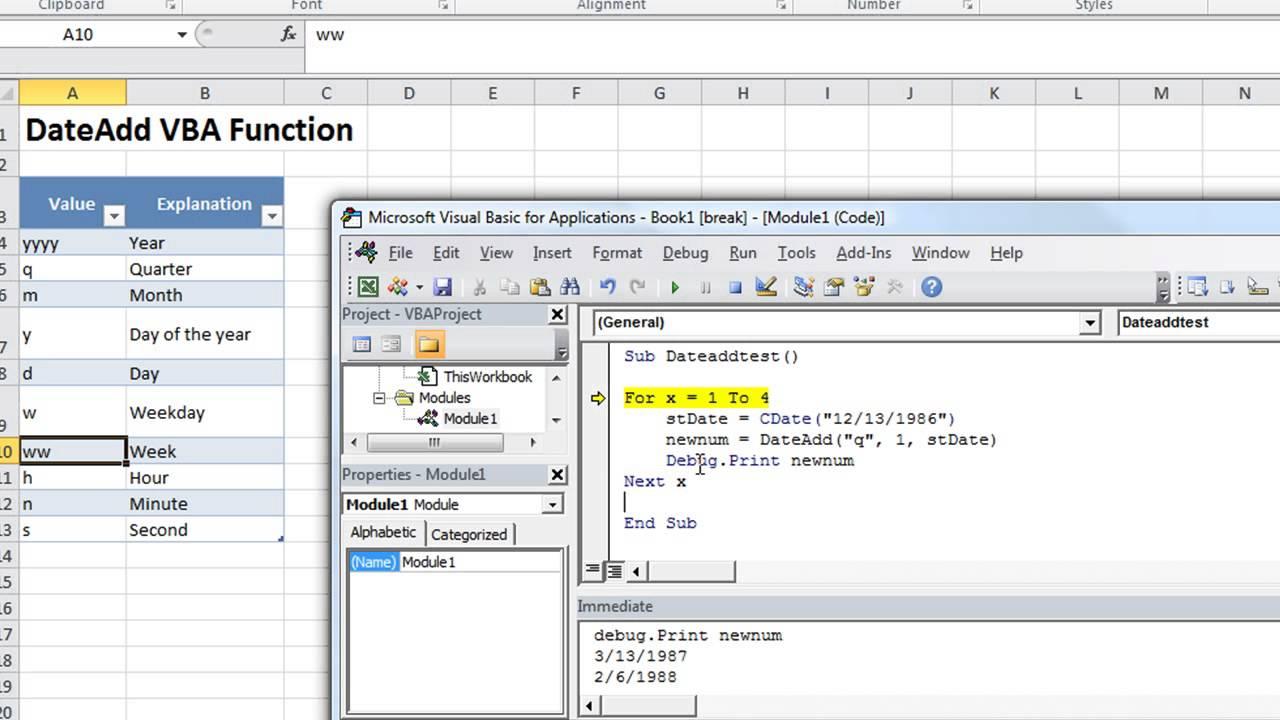 Excel Vba Basics 23 Dateadd