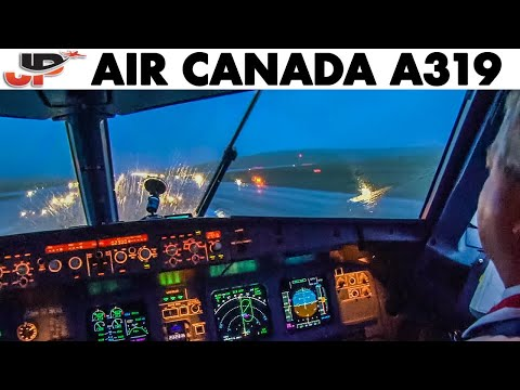 Piloting Air Canada A319 In BAD WEATHER At St Johns   Cockpit Views