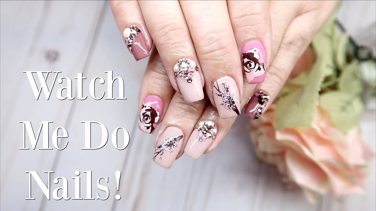 Doing My Moms Nails Neutral Floral Nail Art Youtube