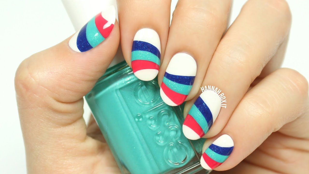 Wavy striped nail art youtube prinsesfo Gallery