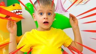 Dima pretends to play with LEGO HANDS - 동요와 아이 노래   어린이 교육   Dima Family Show