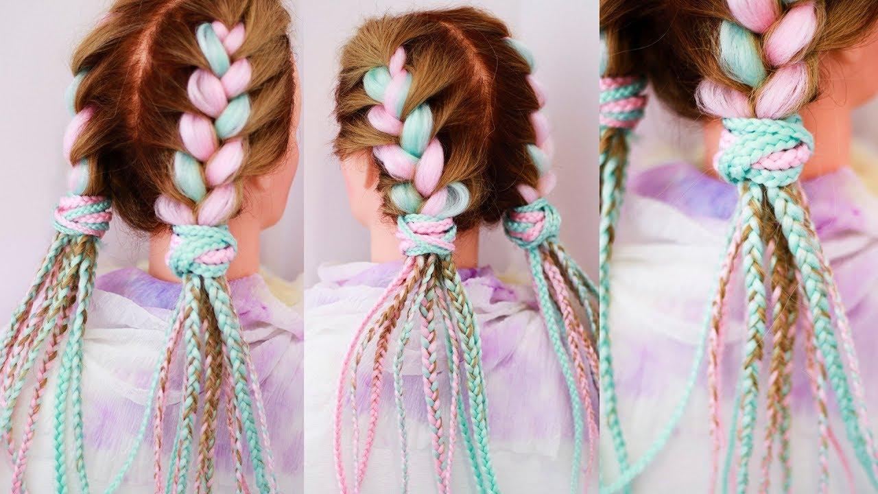 Цветные косы с канекалоном ПРОСТОЙ способ заплести Причёска на каждый день