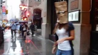 Girl Wearing Bag on Head