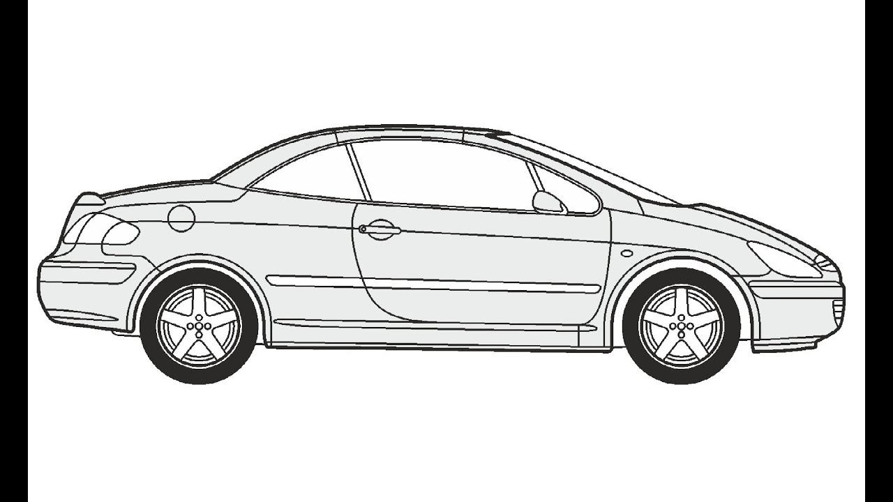 How to Draw a Peugeot 307 CC / Как нарисовать Peugeot 307